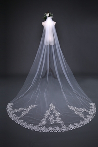 Image 2 - New Arrival 3 Meter Cheap Wedding Veil Long Lace Appliques Veu de noiva longo com pente Sexy wedding veil with comb 2020