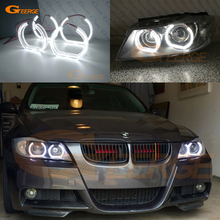 купить For BMW 3 Series E90 E91 2006 2007 2008 Xenon headlight Excellent DTM Style Ultra bright led Angel Eyes kit дешево
