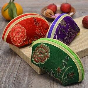 Quente 1 pc pequeno bonito escudo em forma de mini bolsa de moeda bolsa de jóias doces zíper saco de seda brocado carteira de armazenamento