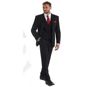 Black 2019 New men suits Notch Lapel Single Breasted Mature Tuxedos Groom Wear suits mens Three Piece (Jacket+Pants+Vest+Tie)