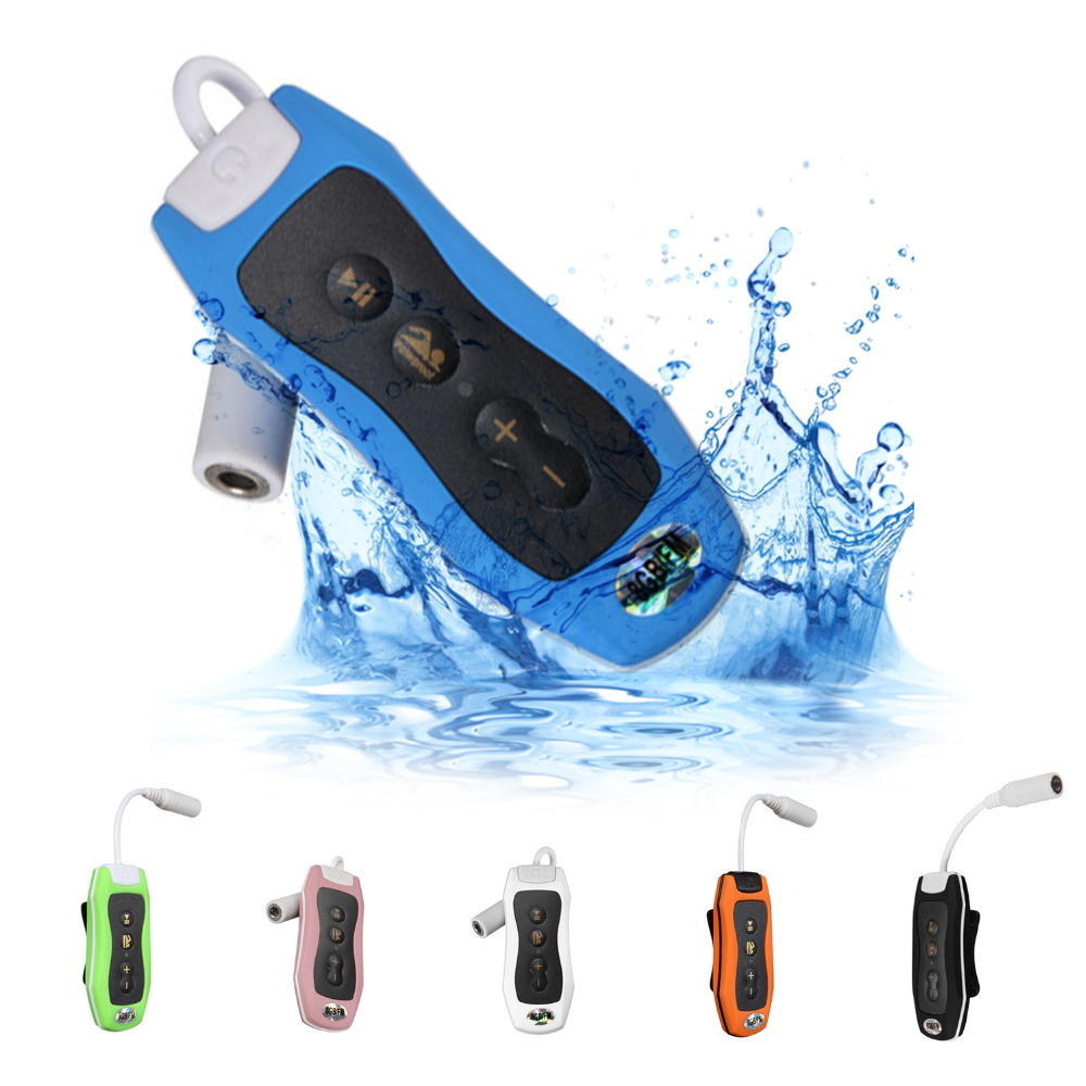 цена на MAHA 8GB MP3 Player Swimming Underwater Diving Spa + FM Radio Waterproof Surfing Headphones White/Blue/Green/Pink/Black/Orange