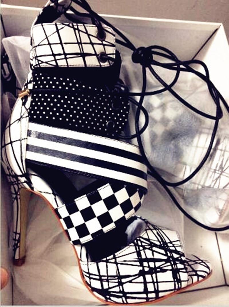 Sandales Polka Dot Mode Noir La Chaude Mariage Femmes Hauts À Picture Cheville As Et Bride Treillis Talons Liée De Croix Vente Blanc as Picture D'été qY7P7Ow