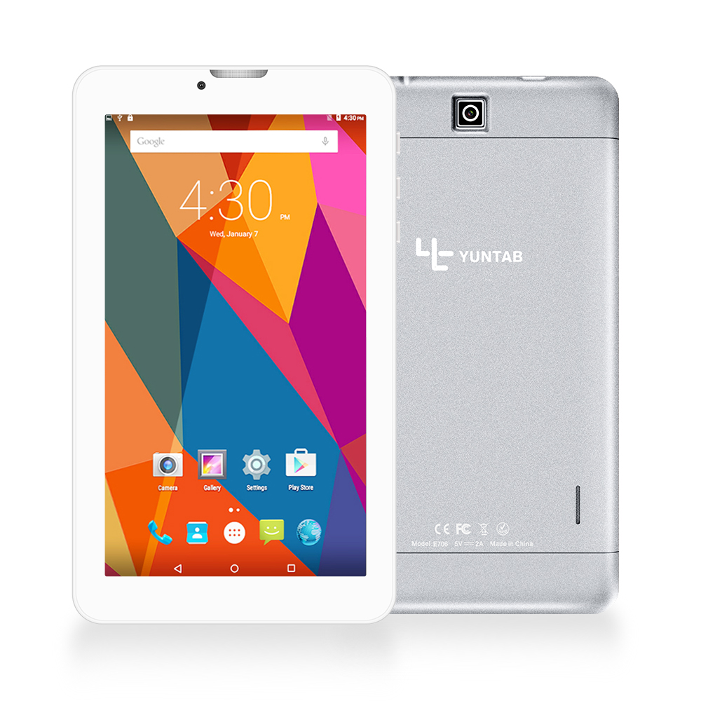 YUNTAB 7 '' E706 Alloy Tablet PC Quad Core touch screen 1024x600 Android 5.1 Dual Camera Support Sim Card 2500mAh battery