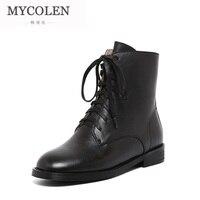 MYCOLEN/Высококачественная брендовая кожаная женская обувь; Новые Стильные черные женские ботильоны для работы; кожаные зимние ботинки
