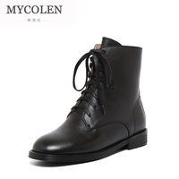 MYCOLEN High Quality Brand Leather Women Boots Black New Style Solid Female Work Fashion Ankle Boots Leather Winter Boots