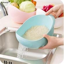 Keythemelife Plastic Clean Machine Vegetables Basin Wash Rice Sieve Fruit Bowl Basket Kitchen Cooking Tools HA