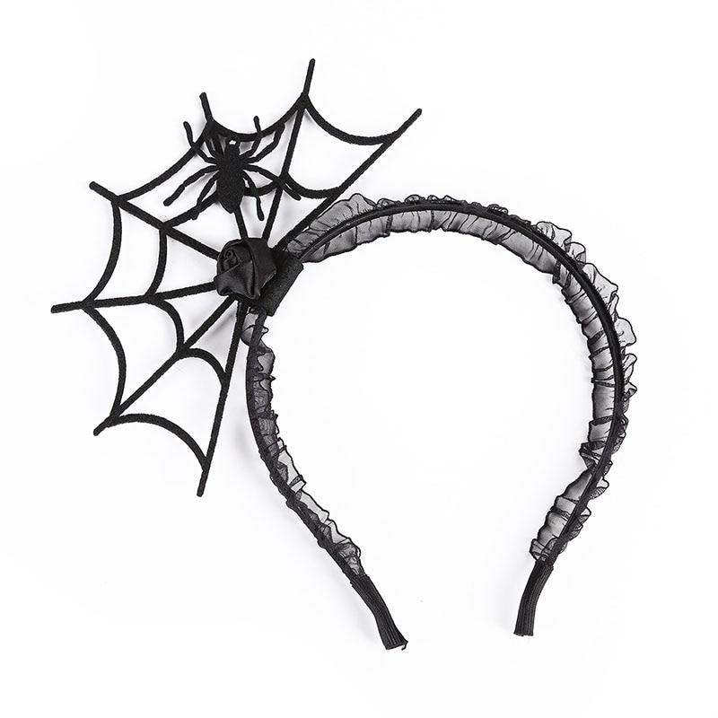 Halloween Spider Web Headband Lace Spiderweb Hairband Hoop for Women Halloween Party Cosplay Black