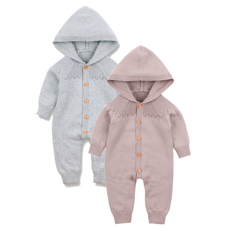 New Born Baby Clothes 2019 Spring Hooded Long Sleeves Toddler Girls   Rompers   Jumpsuits Solid Knitted Infantil Boys Pajama Outfits