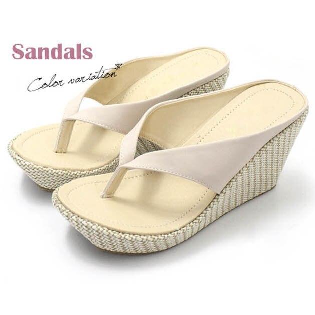 Женские домашние сандалии модные босоножки-вьетнамки на платформе Босоножки на танкетке пляжные шлепанцы на высоком каблуке размера плюс; большие размеры 33-41 - Цвет: beige