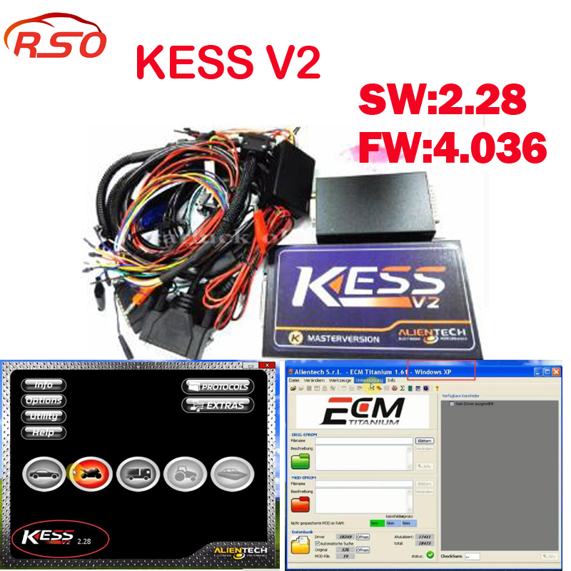 цена на Kess Newest v2.32 OBD2 Tuning Kit KESS V2 FW4.036 SW2.32 ECU Chip Tuning tool + free ECM Titanium software FREE ship