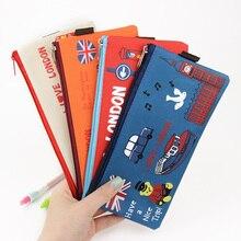 2 PCS New Cute Kawaii Oxford Cloth London Pencil Cases Retro Zipper Bag for Kids School Office Supplies Stationery