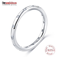 LZESHINE 925 Sterling Silver Rings Simple Style Finger Ring For Women Wedding With AAA Zirconia European