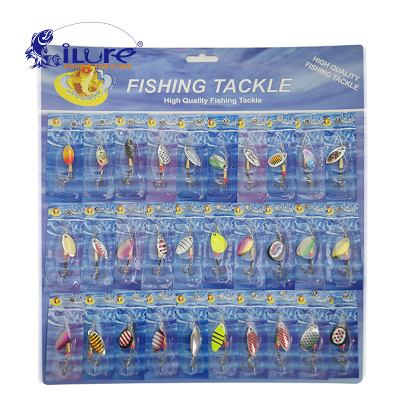 30 Pcs/set Fishing Bait Metal Spoon Bait Kit Wobblers Spinner Spoon Lures Fishing Tackle Hook Treble Spinner Crankbaits Pesca goture 96pcs fishing lure kit minnow popper spinner jig heads offset worms hook swivels metal spoon with fishing tackle box