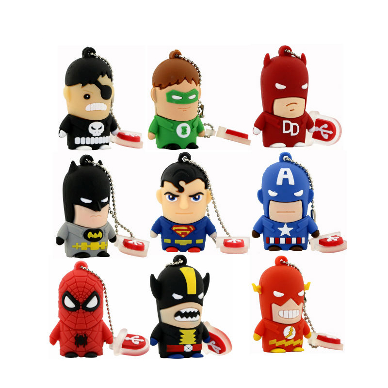 Mejor regalo superhéroe Avenger / Superman / Batman / Spider Man pendrive Usb 2.0 Usb flash drive 8GB 16GB 32GB 64GB cartoon pen drive