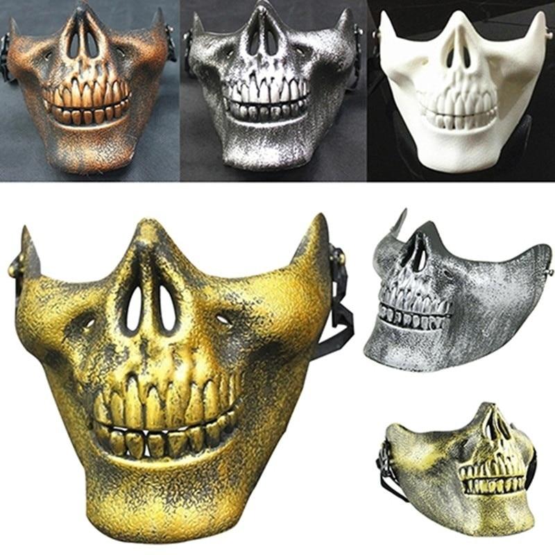 Vehemo костюм Хэллоуин вечерние Страйкбол Череп Маска Мотоцикл Скелет половина лица маски для активного отдыха Decro