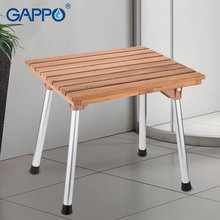 Shower Chair Bath-Seat Bench GAPPO Stainless-Steel Solid-Wood