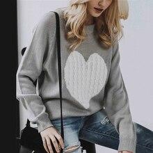Лучший!  Мода Осень Сердце Лоскутная Женские Пуловеры О-Образным Вырезом Трикотажные Свитера с длинным рукав