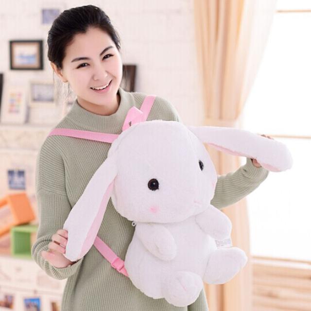Linda Mochila Escolar 50 cm Kawaii Coelho de Pelúcia mochila Japão Lolita Saco De Coelho De Pelúcia Macia Brinquedos para Meninas Presente De Aniversário