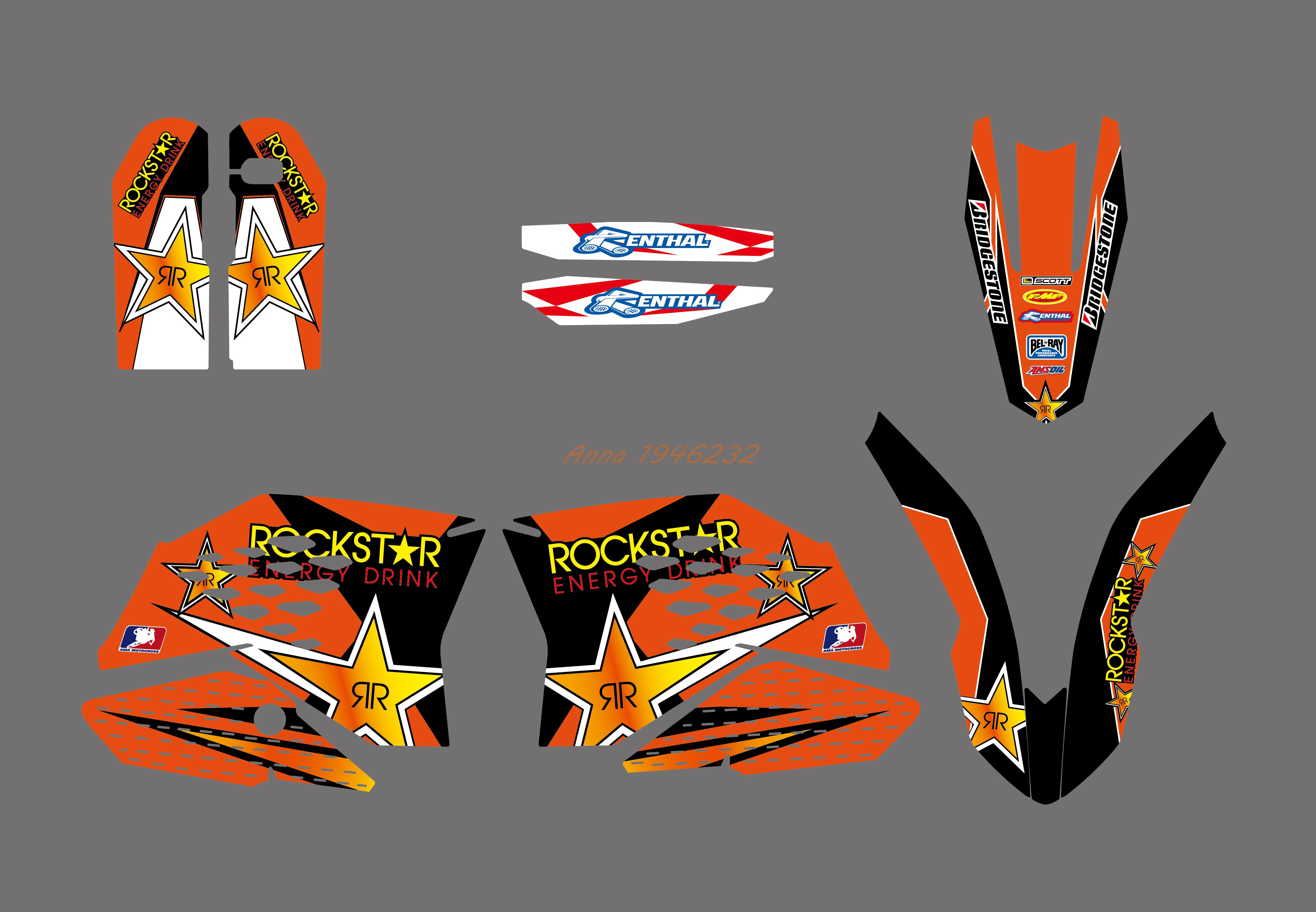 NEW Style TEAM GRAPHIC WITH BACKGROUNDS DECAL STICKER FOR KTM 125 250 300 350 450 525 SX SXF 2007 2008 2009 2010-in Decals & Stickers from Automobiles & Motorcycles    2