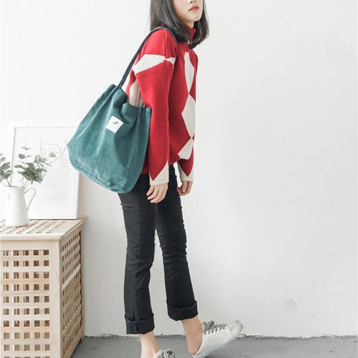 High Capacity Women Corduroy Tote Ladies Casual Shoulder Bag Foldable Reusable Shopping Beach Bag WML99 19