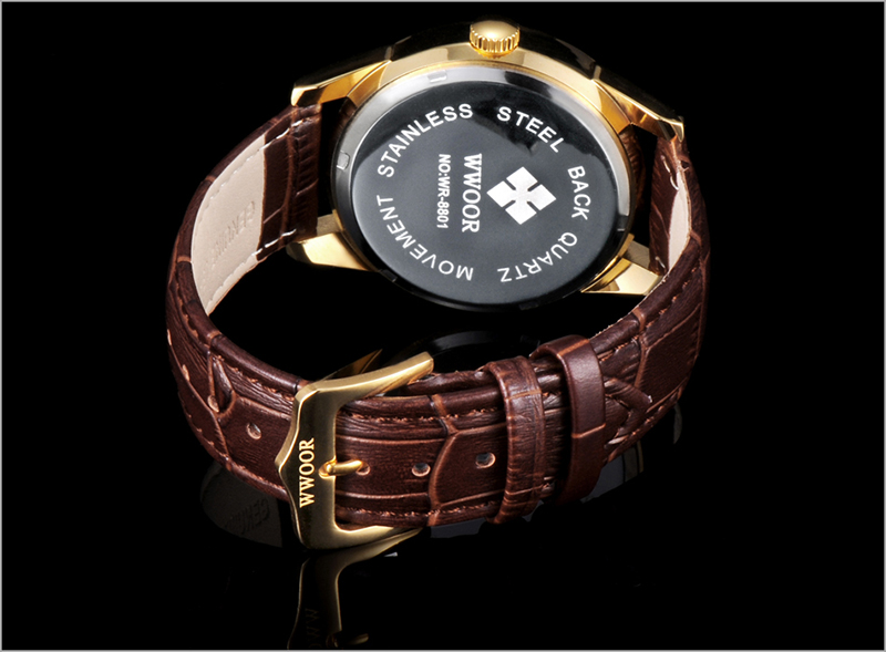 WWOOR 2019 Men\`s Watch Top Brand Luxury Sport Watch Men Quartz Gold Watches Genuine Leather Watch For Men relogio masculino (4)