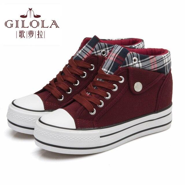 Размер 35-40 новая мода платформа весна лето холст обувь клин женские ботинки женщин обувь женщина студент # Y3020702Q