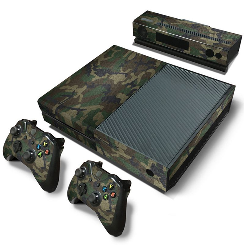 Camouflage Game Cosole Decal Skin Stickers For Xbox One Console Vinyl Skin+2PCS Controller Stickers