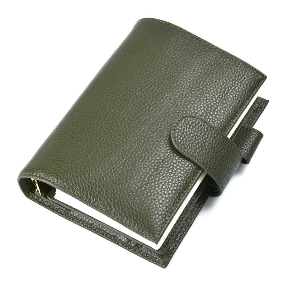 Notebooks & Schreibblöcke Olive Grün Litschi Echtem Leder Ringe Notebook 19,2x13,5 Cm Gold Binder Täglichen Planer Handgemachte Persönliche Tagebuch Agenda Organizer