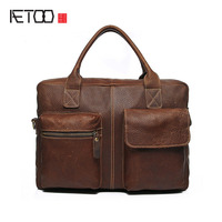 AETOO Leather goods British wind hand first layer cowhide portable Messenger business package men briefcase leather computer bag