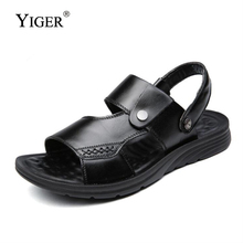 YIGER NEW Men Sandals Big Size 38-47 Genuine Leather Walking for Man Fashion Brand Outdoor Male Casual Shoes  0030