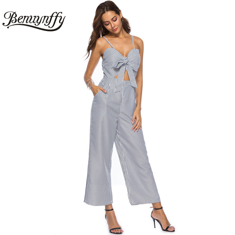 42fd1b796f Benuynffy Hollow out Bow Striped Jumpsuit female One Piece V-neck Spaghetti  strap Women Summer Casual Long Wide Leg Jumpsuit