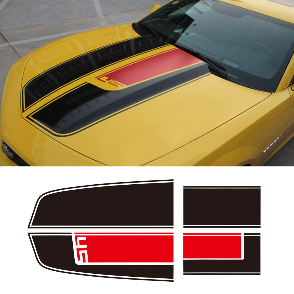 Capot de voiture toit coffre capot moteur capot pare-chocs arrière course rayure vinyle autocollant pour Chevrolet Camaro capot décalque RS LS SS LT