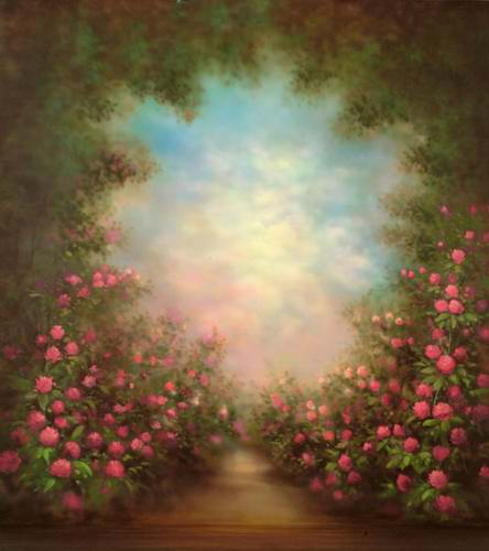 Oil painting style floral door vinyl cloth photography