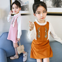 2018 New Spring Children Princess Clothing Long Sleeve Baby Kids Embroidery Dresses for Girls 8 10 12 14 Year Toddler Girl Dress