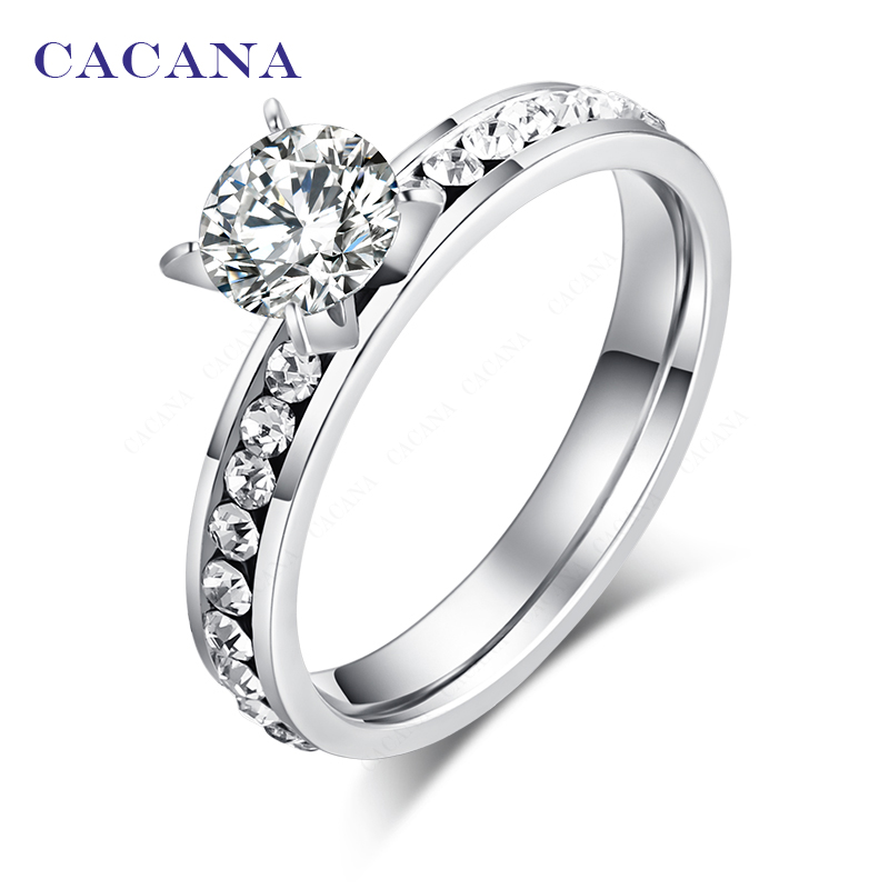 CACANA Stainless Steel Rings For Women Circle CZ Jewelry