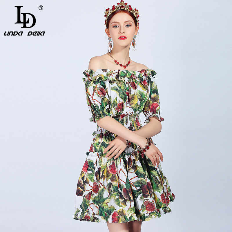 609de8c456c ... LD LINDA DELLA 2019 Fashion Runway Summer Cotton Dress Women s Slash  neck Off the Shoulder Ruffles ...