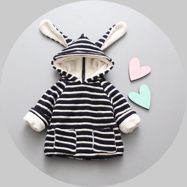 Casual Inverno Quente Do Bebê Meninas Crianças Crianças Listrado Com Capuz Orelha de Veludo Engrossar Casacos Jaqueta de Crianças Outwear Casacos S4206