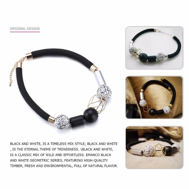 Necklace Fashion Jewelry Minimalist Ethnic Chokers Necklaces Women Black & White Wood Beads