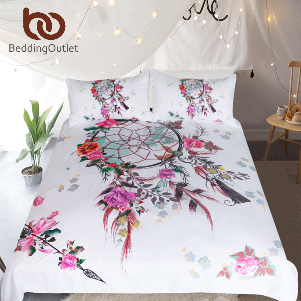 BeddingOutlet Dreamcatcher Bedding Set Floral Chic Duvet Cover Bohemian Spring Spirit Bedclothes Pink Girls Home Textiles 3pcsBeddingOutlet Dreamcatcher Bedding Set Floral Chic Duvet Cover Bohemian Spring Spirit Bedclothes Pink Girls Home Textiles 3pcs