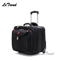 LeTrend New Oxford Rolling Luggage Casters 18 inch Men Multifunction Boarding Suitcase Large Capacity Travel Luggage