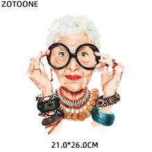ZOTOONE Fashion Grandma PVC Patch Clothes Heat Transfer Printing T Shirt Women Iron on Patches for Clothing Girl Stickers
