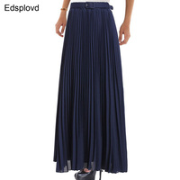 LOHER 2017 Excellent Pleated Chiffon Skirt Women Spring Summer Autumn Fashion Long Maxi Skirt High Quality