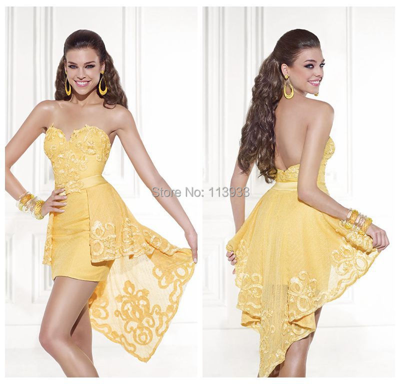 yellow lace prom dress 2017 - photo #37