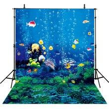 Sob o mar submarina realista oceano azul peixe coral pano de Fundo de Vinil de Alta qualidade de impressão Computador pano de fundo da parede