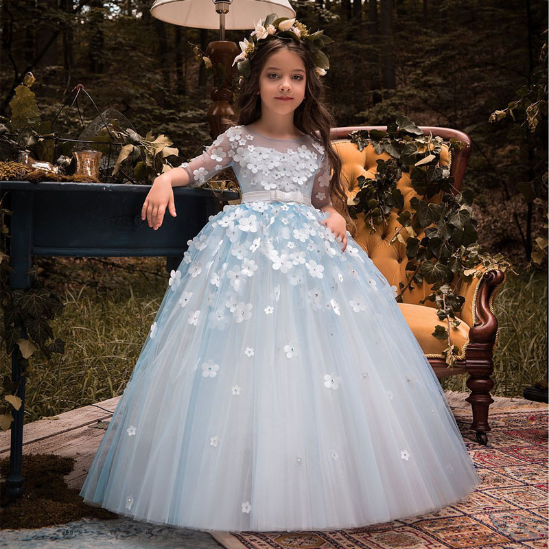 Charming Half Sleeves Lace Tulle Kids Ball Gowns with Butterfly Decoration V Back Style Flower Girls Dresses with Satin Bow Sash lace long sleeves flower girl dress with butterfly decoration keyhole back blue tulle kids party ball gowns with satin sash bow