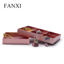 FANXI  New Rose Gold Metal Jewelry Display Stand Ring Necklace Bracelet Display Storage Tray Jewelry Organizer for Showcase