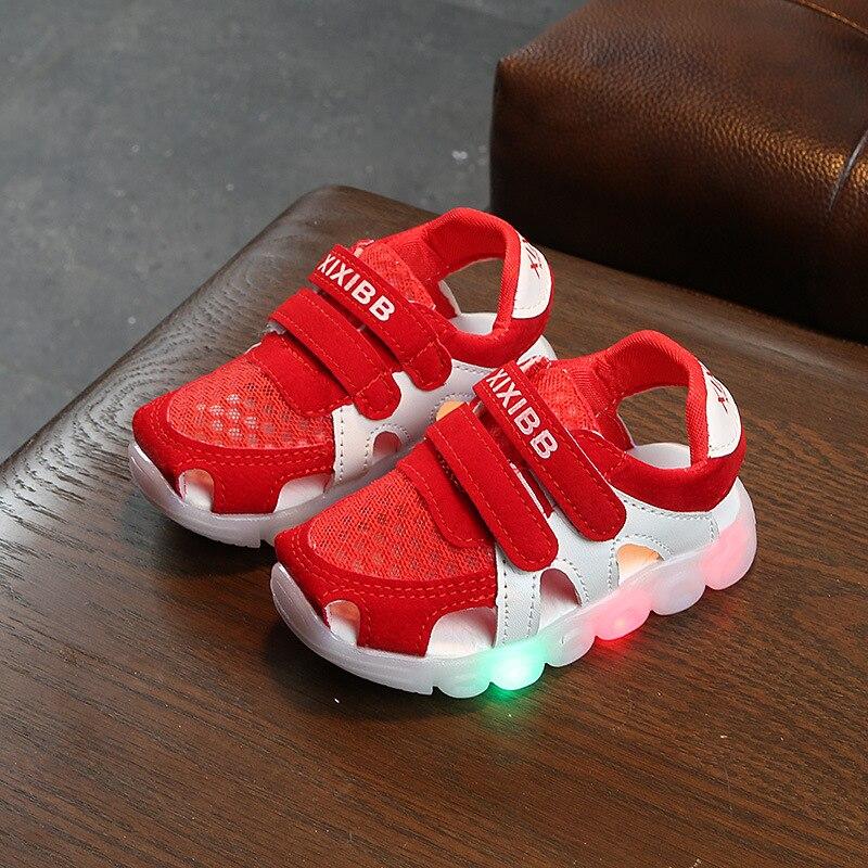 Led Baby Kids Luminous Sandals For Girls Boys Summer Glowing Flat Children Baby First Walkers Sandals Beach Led Light Sandals