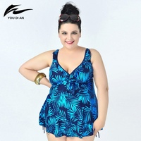 Plus Size 8XL Leaf Printed Swimwear One Piece Swimsuit For Women Summer Dress Large Size One