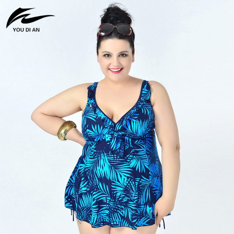 Plus Size 8XL leaf printed swimwear swimsuit for women summer dress large size one bathing suit sexy beachwear women one piece triangle swimsuit cover up sexy v neck strappy swimwear dot dress pleated skirt large size bathing suit 2017