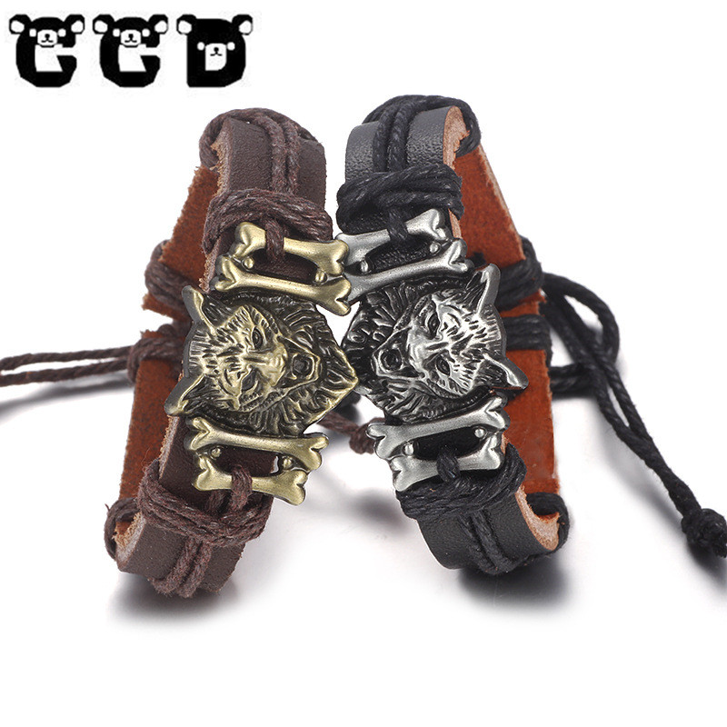 New Mens Bracelets Bangles Gold Leo Lion Punk Shackles Black Leather Bracelet Men Adjust Wristband Fashion Jewelry pulseira